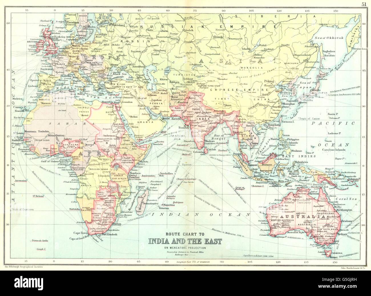 Australia India Map.British Empire Route Chart To India Far East Australia New Stock