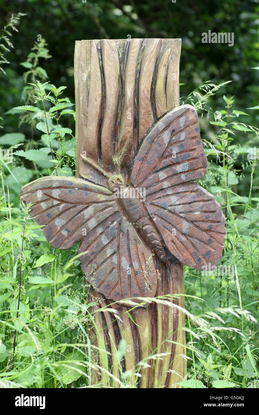 Wooden Carving Of A Butterfly - Stock Image