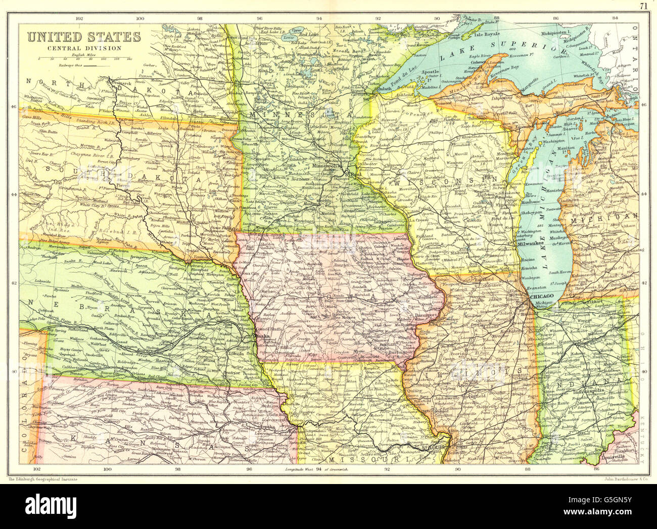 Geographical Map Of United States.Usa Midwest United States Physical Showing Railways Cassells