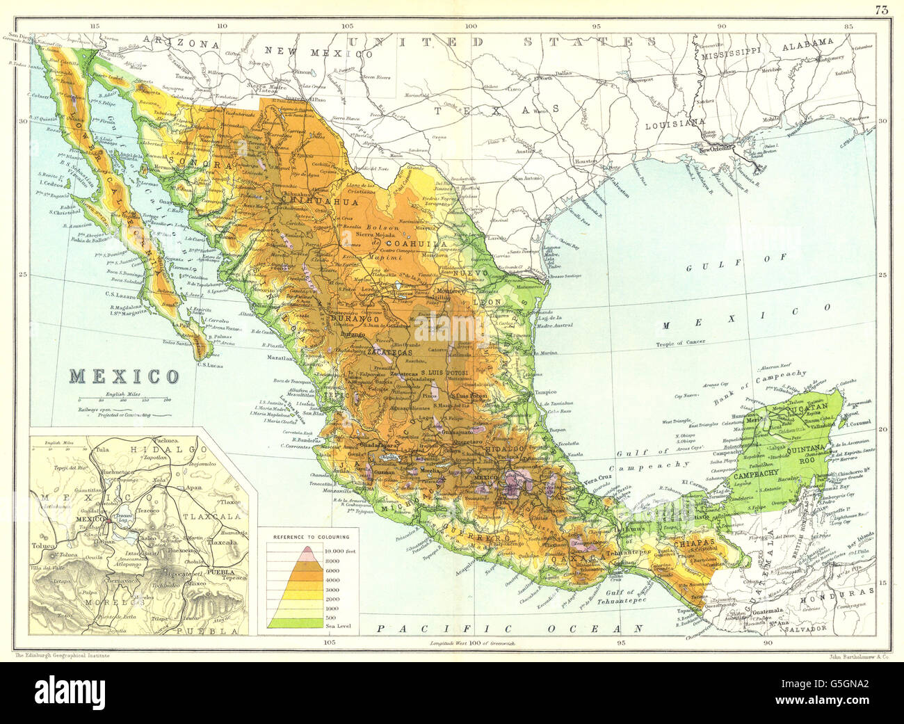 mexico physical map inset map of mexico city area 1909 stock image