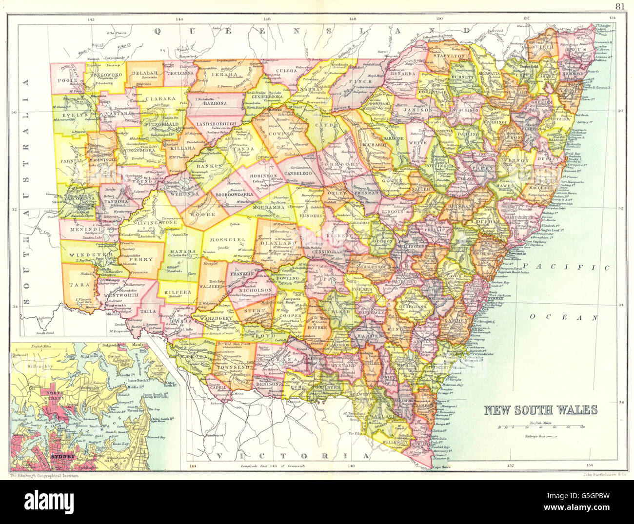 South australia state map showing stock photos south australia new south wales state map showing counties inset map of sydney australia 1909 gumiabroncs Gallery