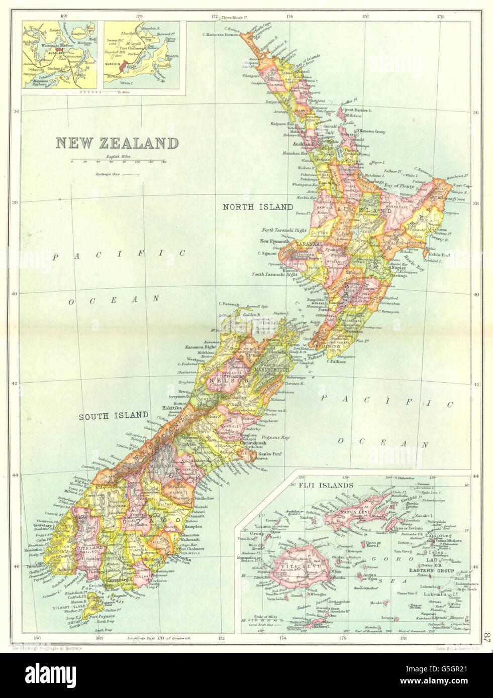 Dunedin Map New Zealand.New Zealand Inset Maps Of Fiji Islands Auckland Dunedin Railways