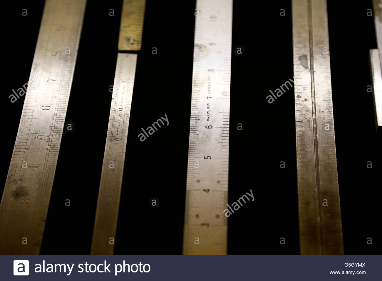 metal Rulers - Stock Image