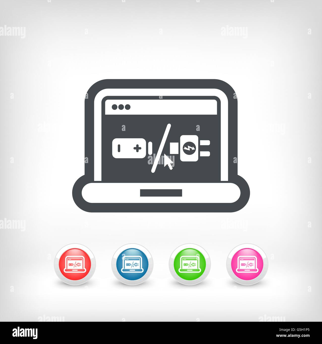Laptop battery charge concept - Stock Image