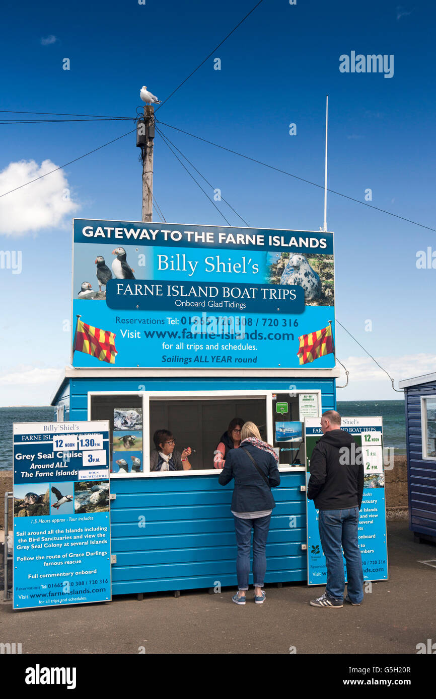 UK, England Northumberland, Seahouses Harbour, customers at Billy Shiel's Farne Islands, boat trip booth Stock Photo