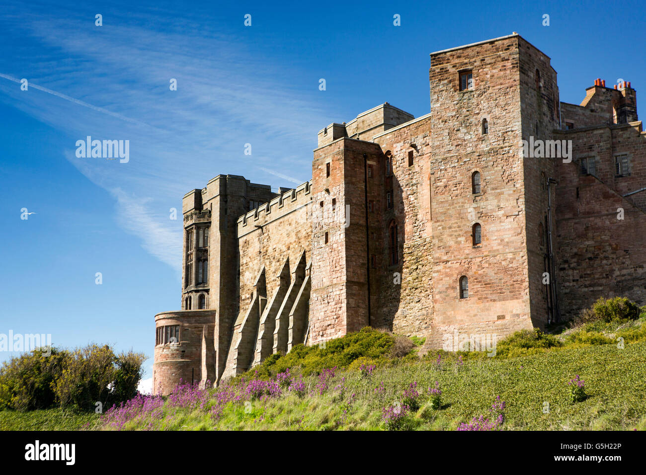 UK, England Northumberland, Bamburgh Castle, State Rooms from the south - Stock Image