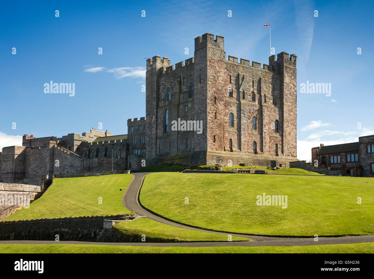 UK, England Northumberland, Bamburgh Castle, C12th Keep, constructed for £4 - Stock Image