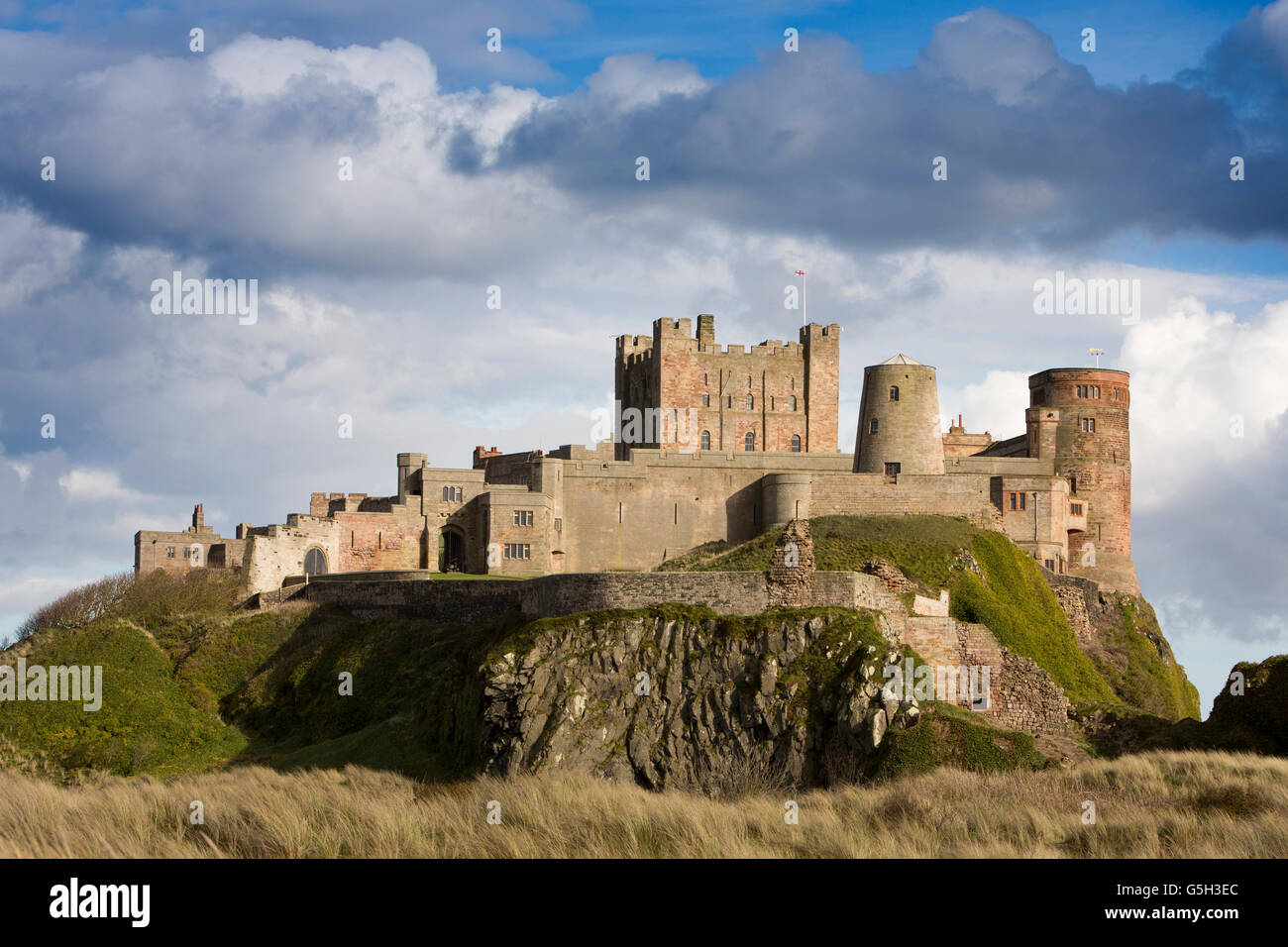 UK, England Northumberland, Bamburgh Castle, from the Wynding Beach, late afternoon - Stock Image