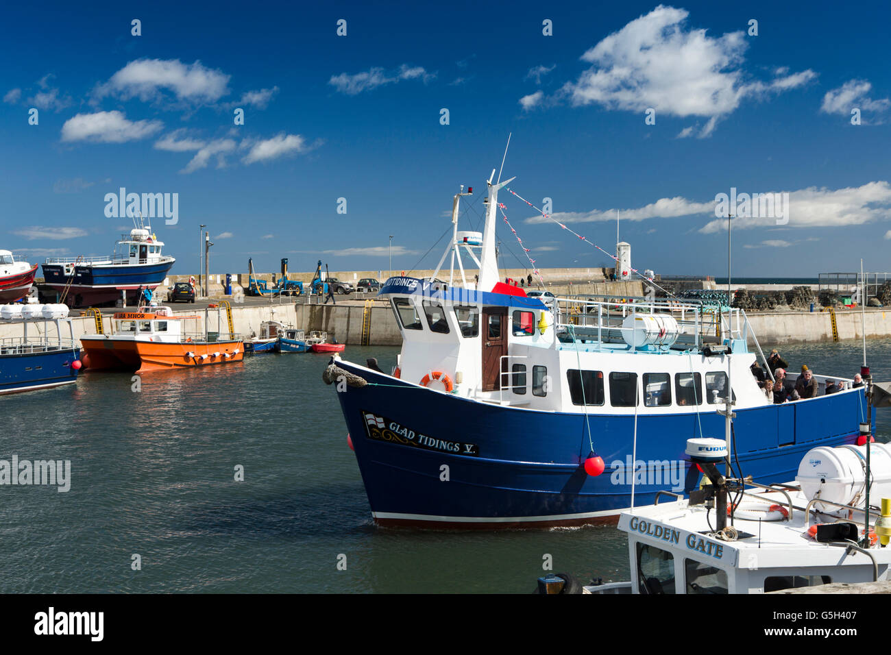 UK, England Northumberland, Seahouses Harbour, Glad Tridings V Farne Islands boat trip vessel returning Stock Photo