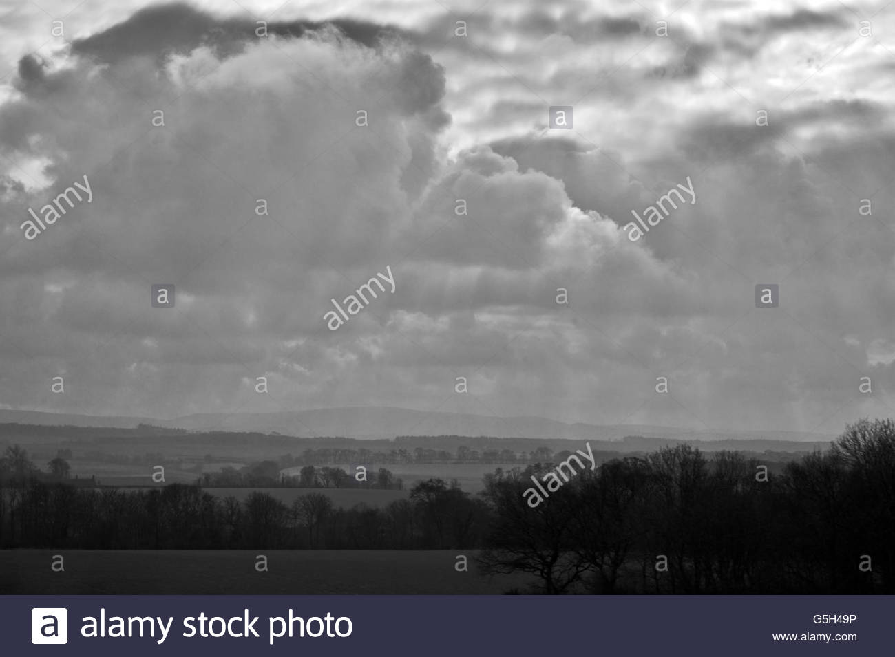 Scottish Border Country with Dramatic Sky - Stock Image