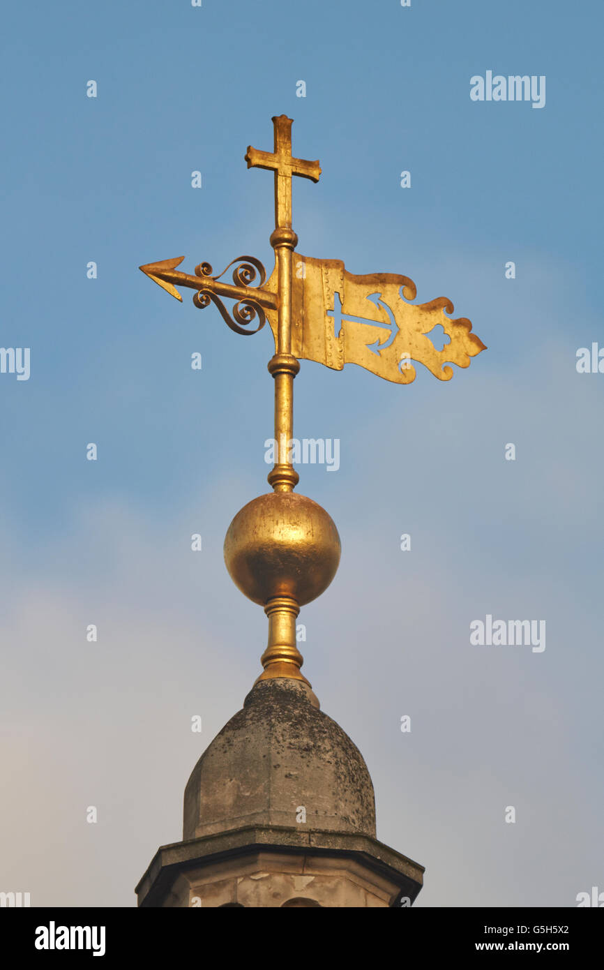 St Clement Danes church, in the Strand, London; anchor weathervane - Stock Image