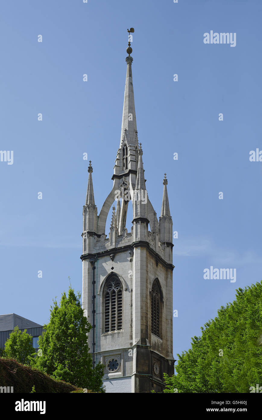 St Dunstan in the East, Church in the City of London. The needle spire with flying buttresses. - Stock Image