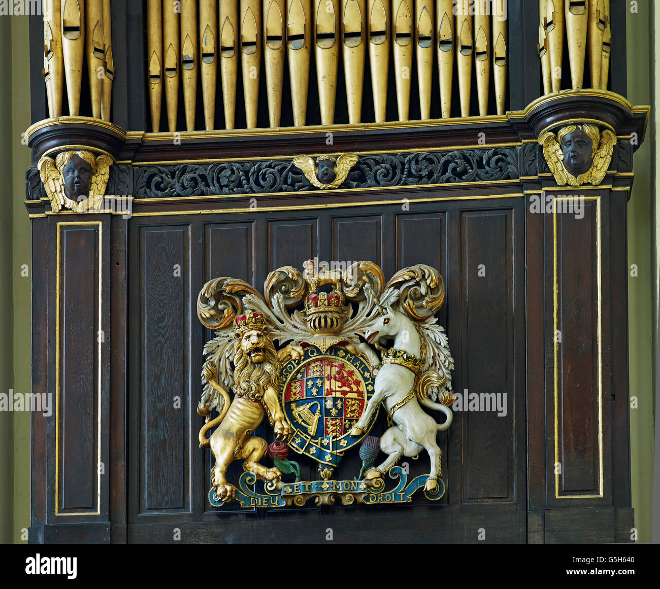 St Edmund King and Martyr, Church in the City of London. Royal Stuart Coat of Arms - Stock Image