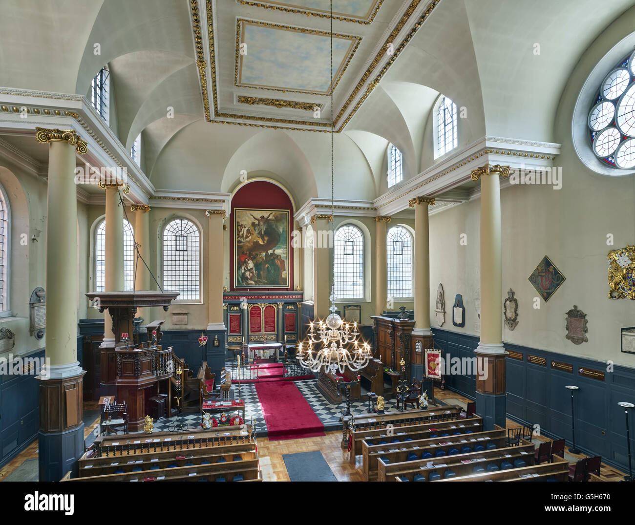 St James Garlickhythe, church in the City of London. The nave - Stock Image