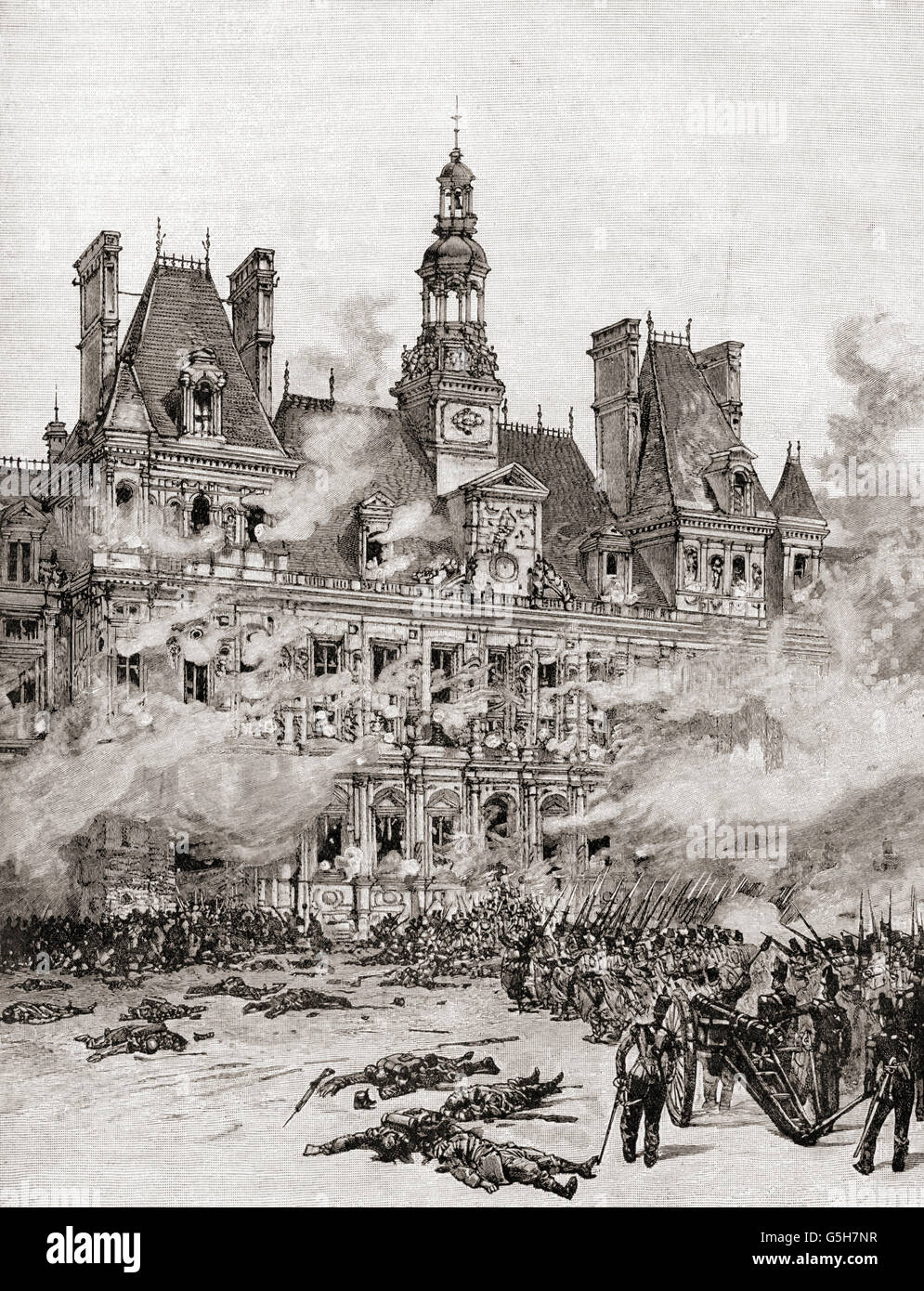 Revolutionaries capture the Hôtel de Ville, Paris, France during the French Revolution of 1830. - Stock Image
