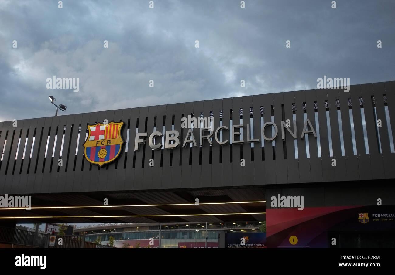 entrance to camp nou stadium, barcelona, spain - Stock Image
