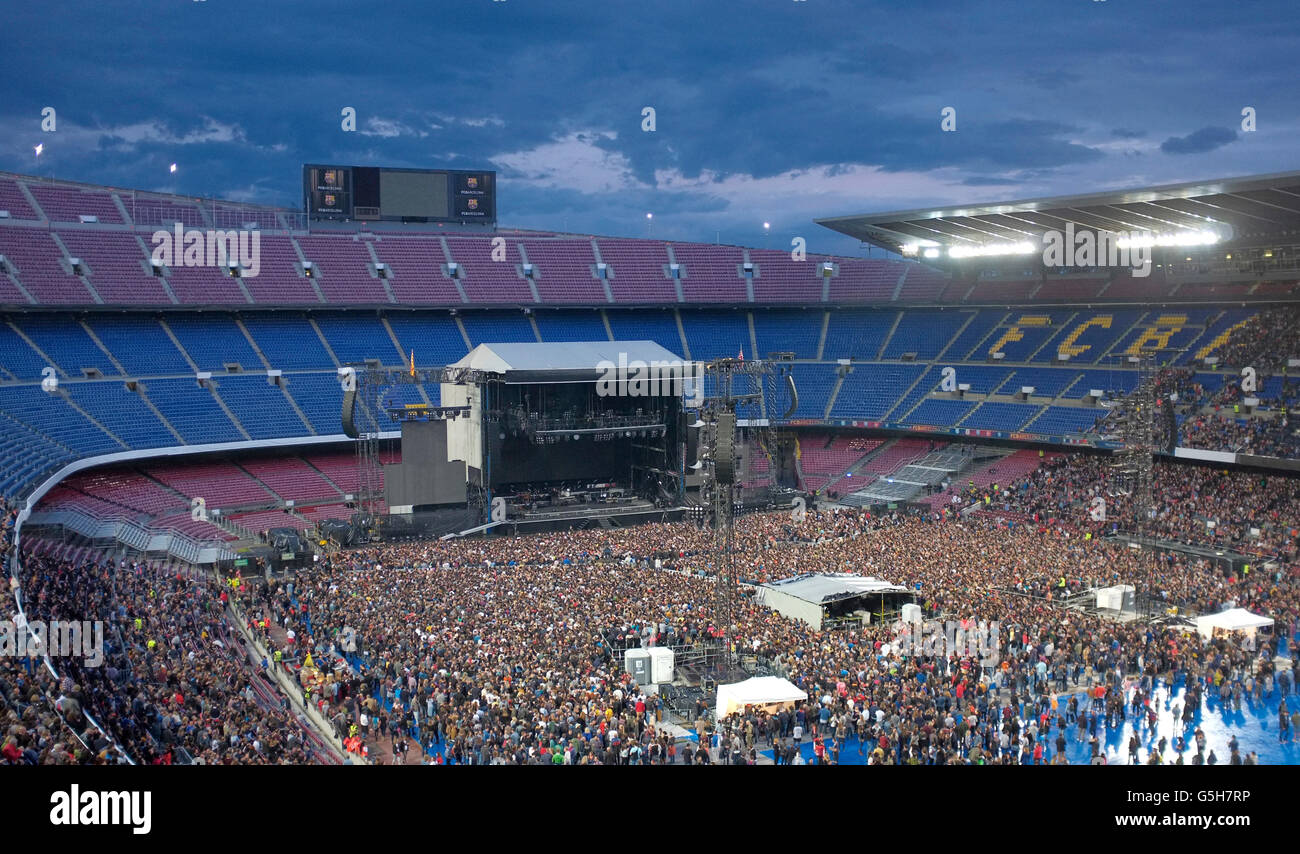 MUSIC CONCERT AT NOU CAMP STADIUM, BARCELONA - Stock Image