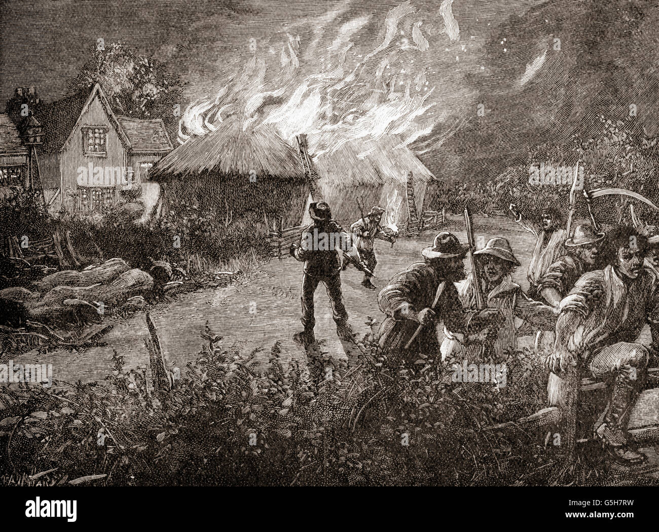 A mob in Kent, England burning a hayrick on a farm during The Swing Riots of 1830. - Stock Image