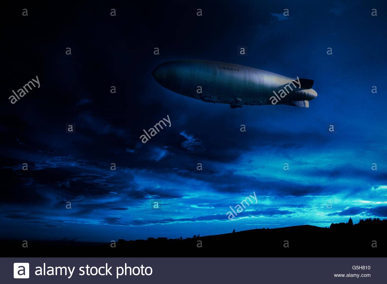 US Navy Blimp over city, California, USA - Stock Image