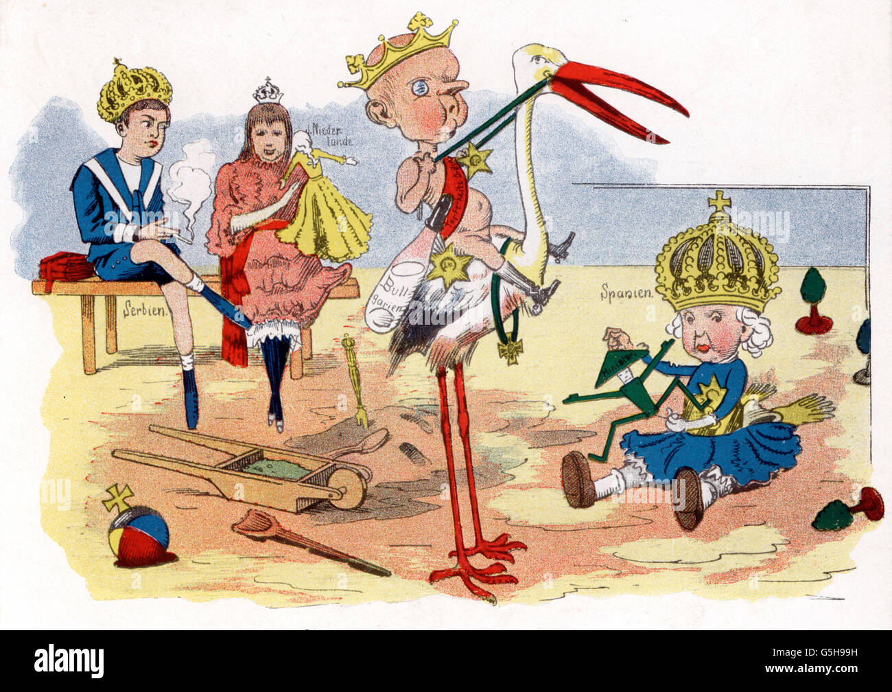 politics, caricature, 'Monarchic Kindergarten', caricature on the young monarchs Alexander I of Serbia, - Stock Image
