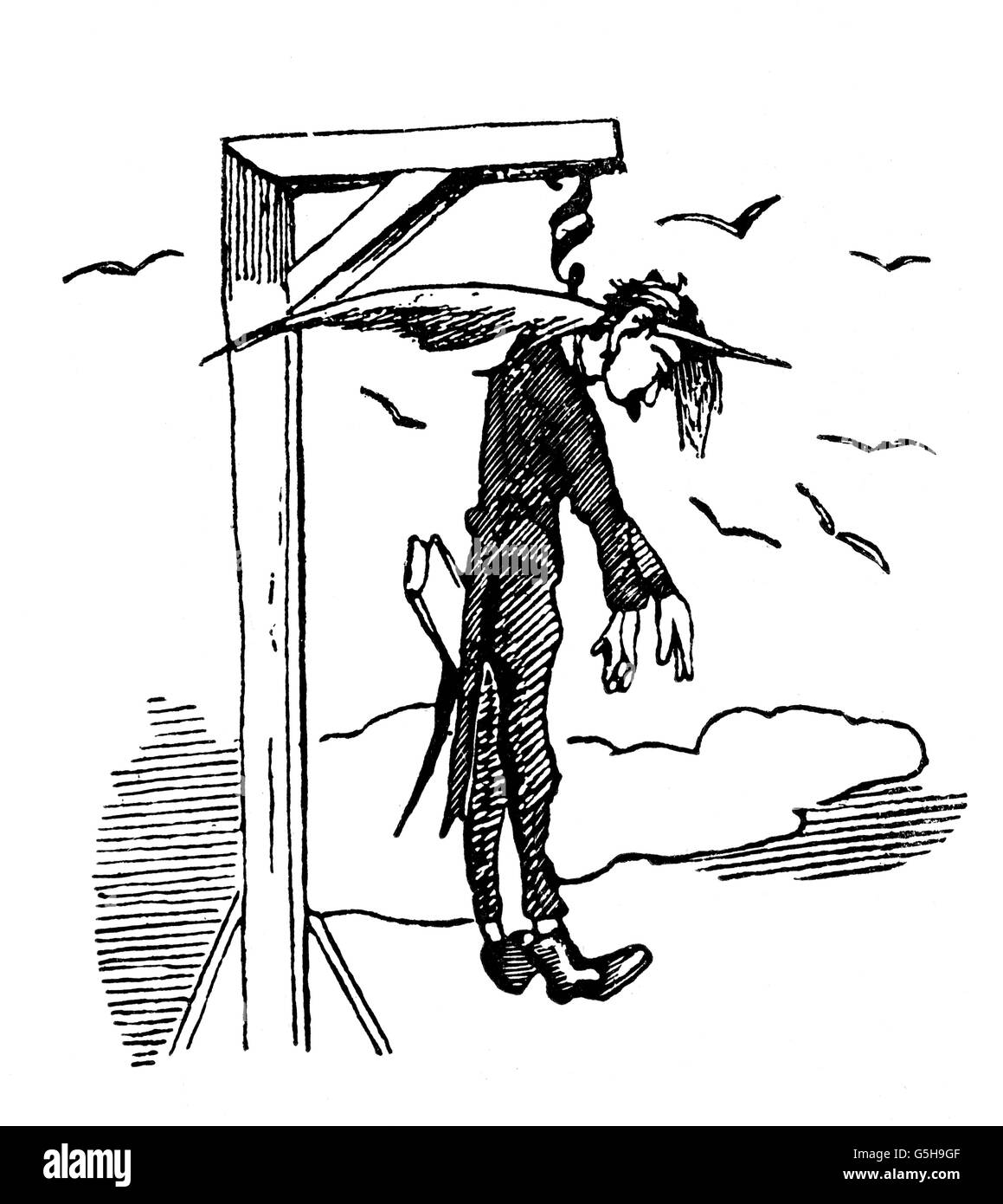 office, caricature, civil servant hanging on paragraph on the gallows, 1848, Additional-Rights-Clearences-NA - Stock Image