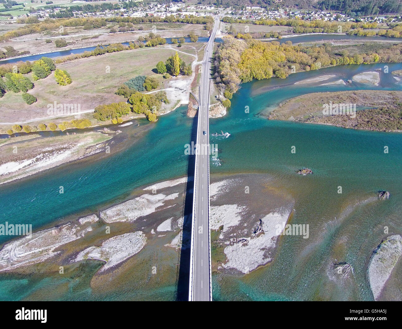 New Kurow Bridge over Waitaki River, Kurow, Waitaki Valley, North Otago, South Island, New Zealand - drone aerial - Stock Image