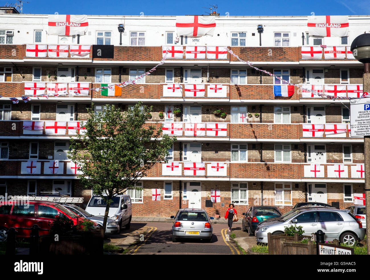 An estate covered with England flags for the Euro 2016 championships.England play Iceland for a place in the last Stock Photo