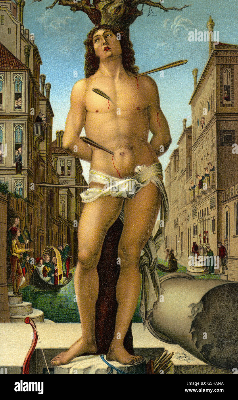 Sebastian, saint, martyr, full length, his death, painting, coloured postcard, Additional-Rights-Clearances-NA - Stock Image
