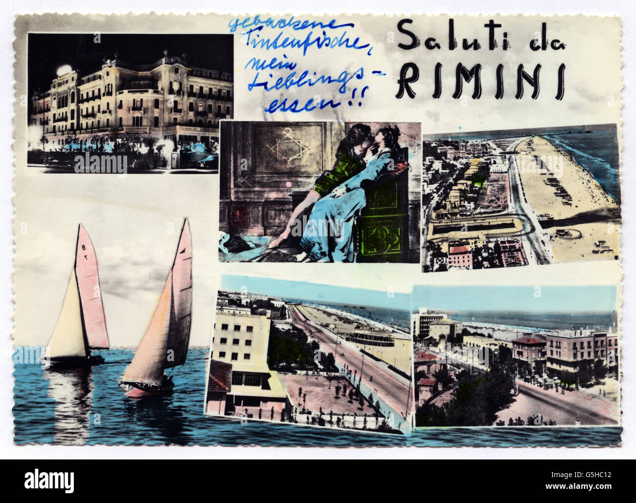 geography / travel, Italy, Rimini, tourism, picture postcard with different motifs from the tourist site, 'Saluti - Stock Image