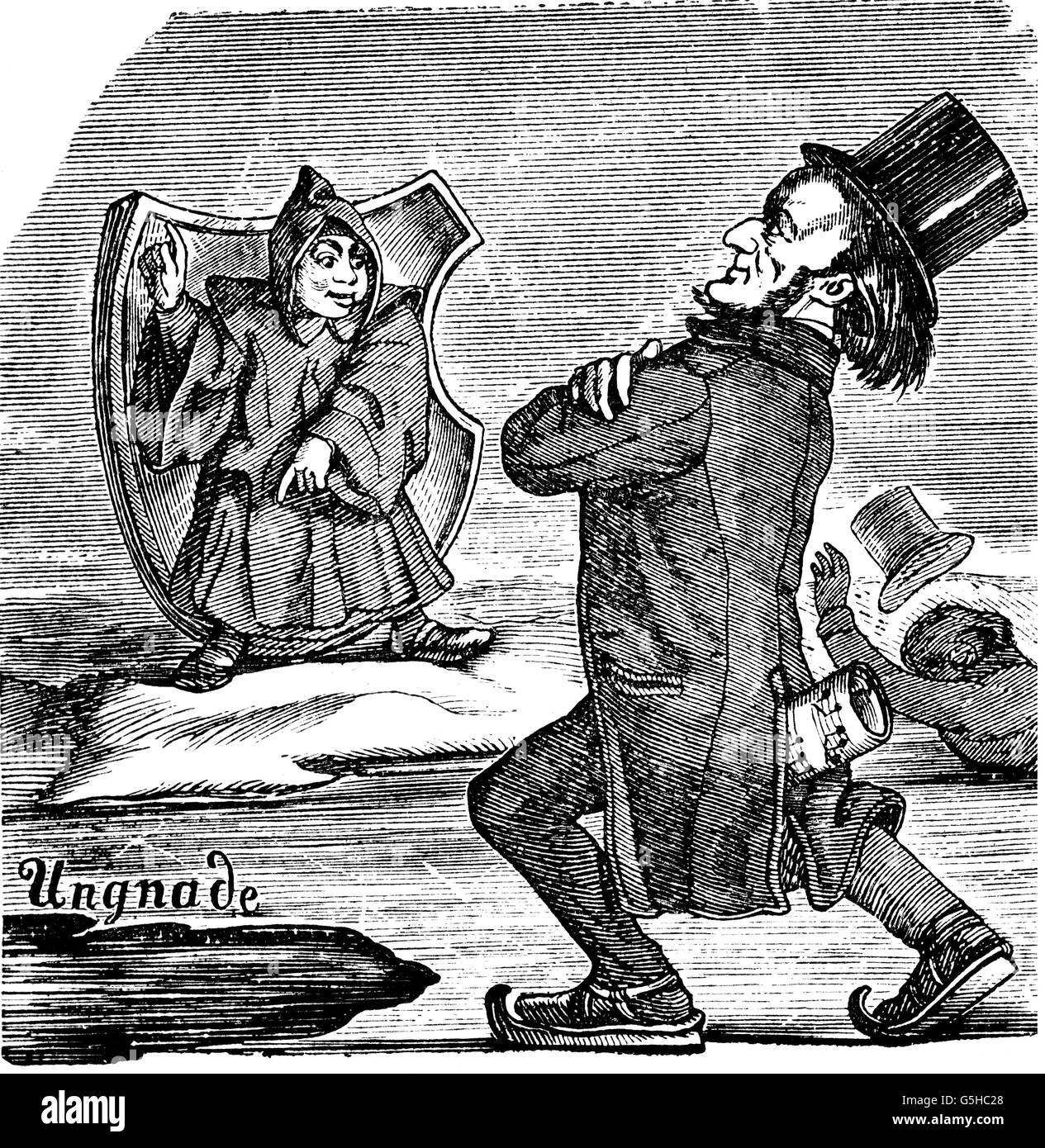Wagner, Richard, 22.5.1813 - 13.2.1883, German musician (composer), full length, caricature 'Man on the ice', - Stock Image