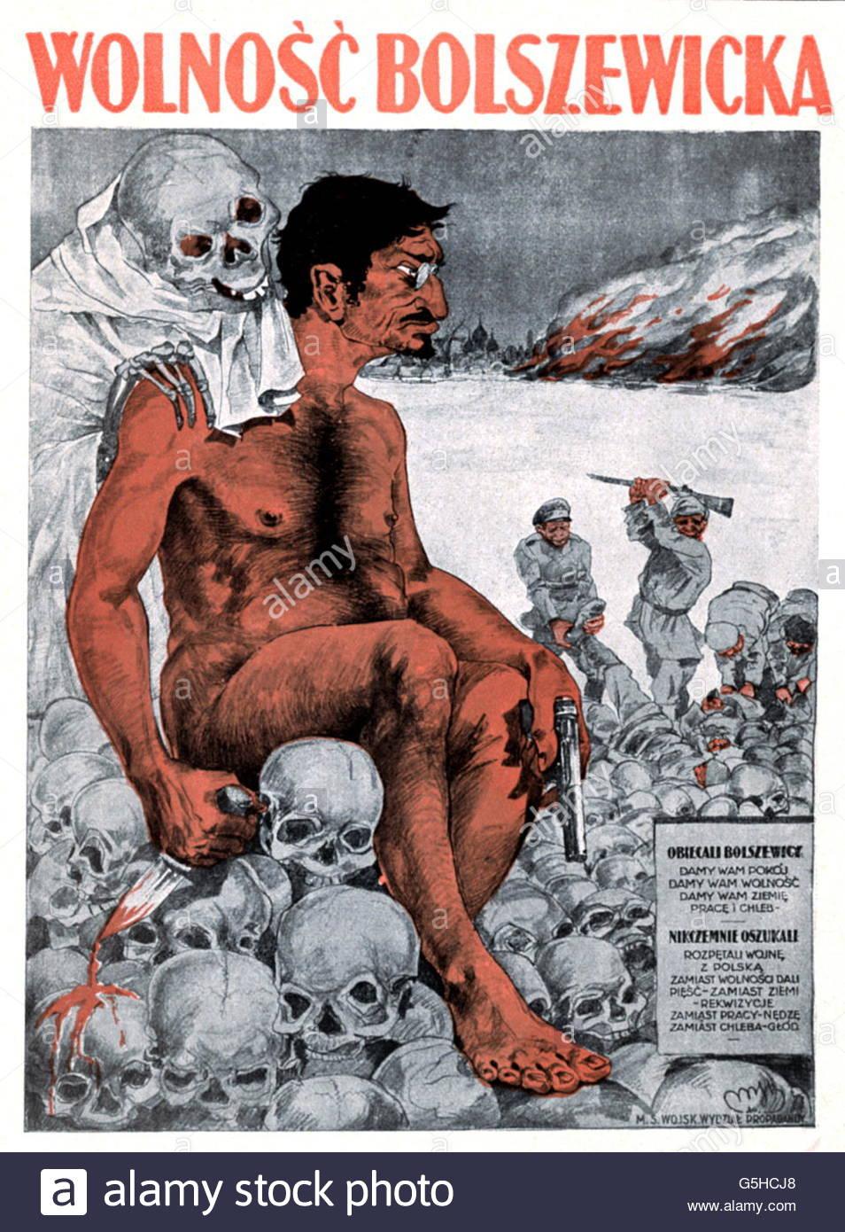 Trotsky, Leon (Lev Davidovich Bronstein), 7.11.1879 - 21.8 1940, Soviet politician, anti-Semitic caricature by Skabowski, - Stock Image