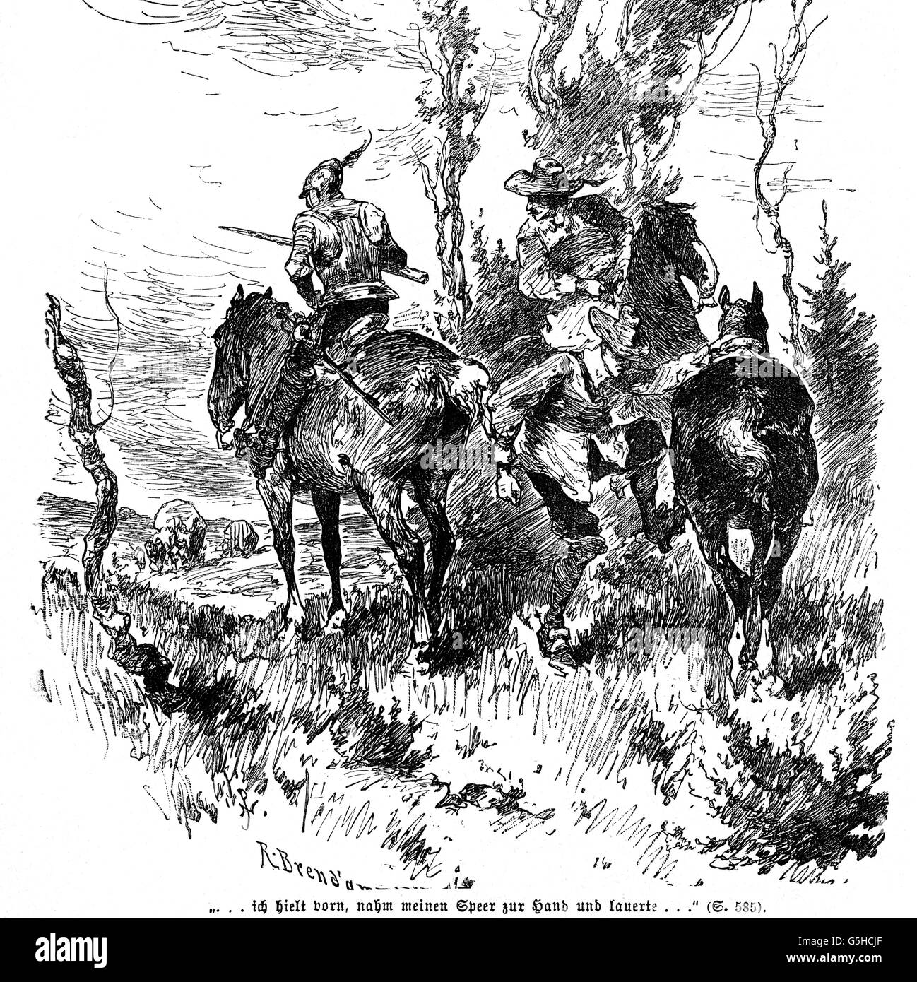 military, cavalry, soldiers setting up an ambush, 17th century, wood engraving, 19th century, horse, horses, riding, - Stock Image