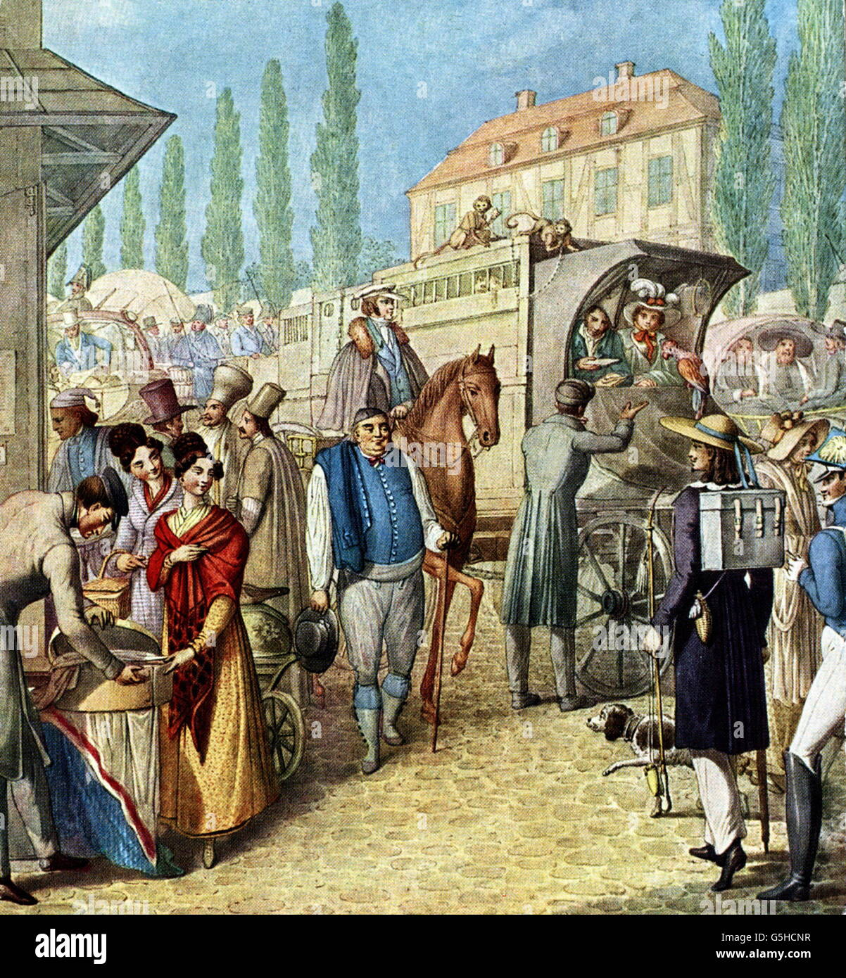 geography / travel, Germany, Leipzig, fair, merchants and showmen arriving at the guard, after watercolour by Georg - Stock Image