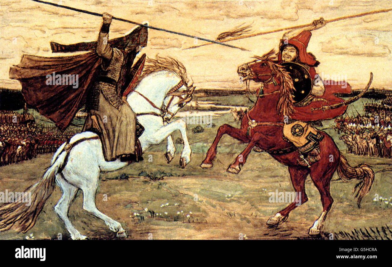 Mongol raids in Russia 1223 - 1480, Battle of Kulikovo, 8.9.1380, duel of Alexander Peresvet and Chelubei, painting - Stock Image