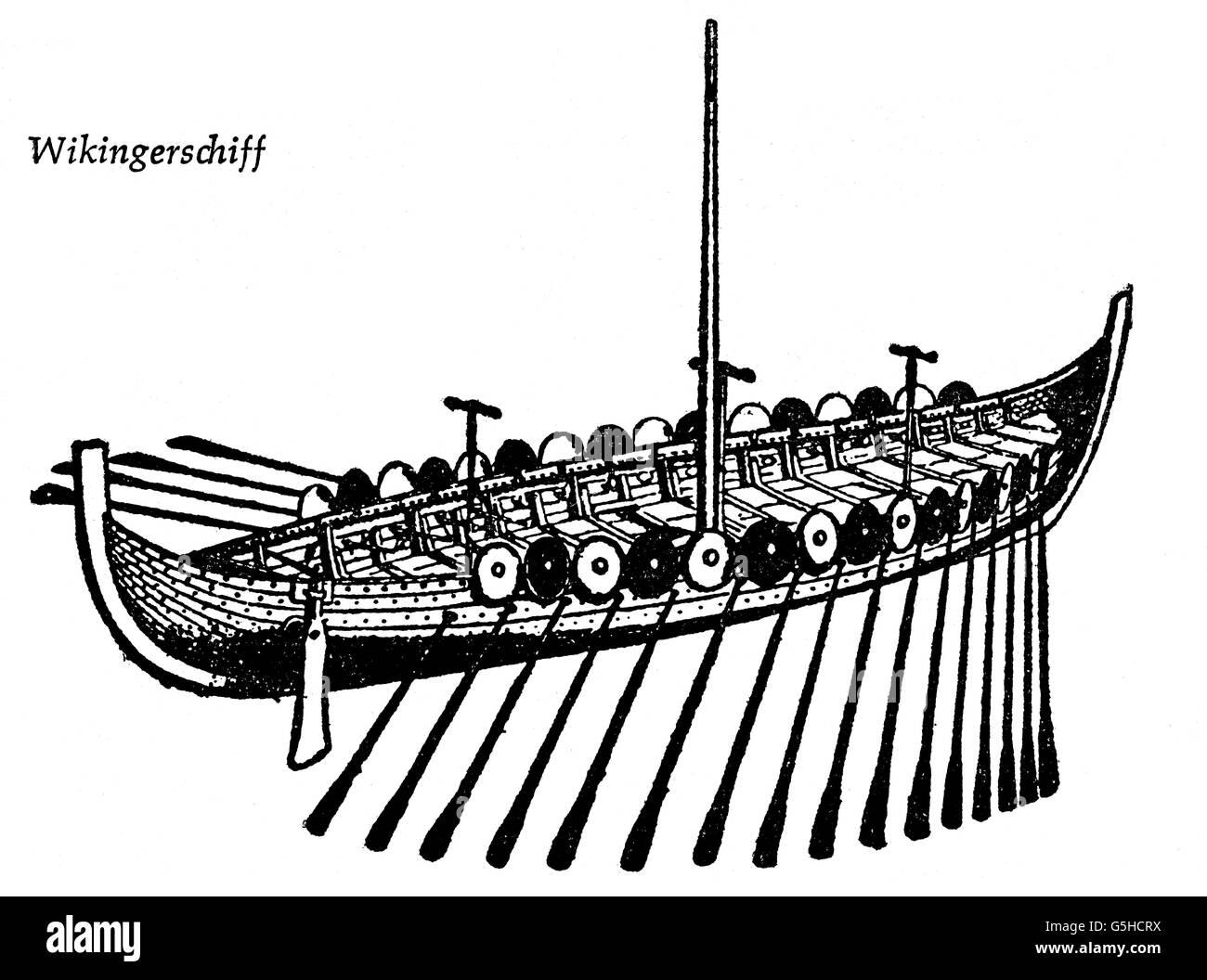 transport / transportation, navigation, Viking, Viking ship, 9th / 10th century, drawing, 20th century, ship, ships, - Stock Image