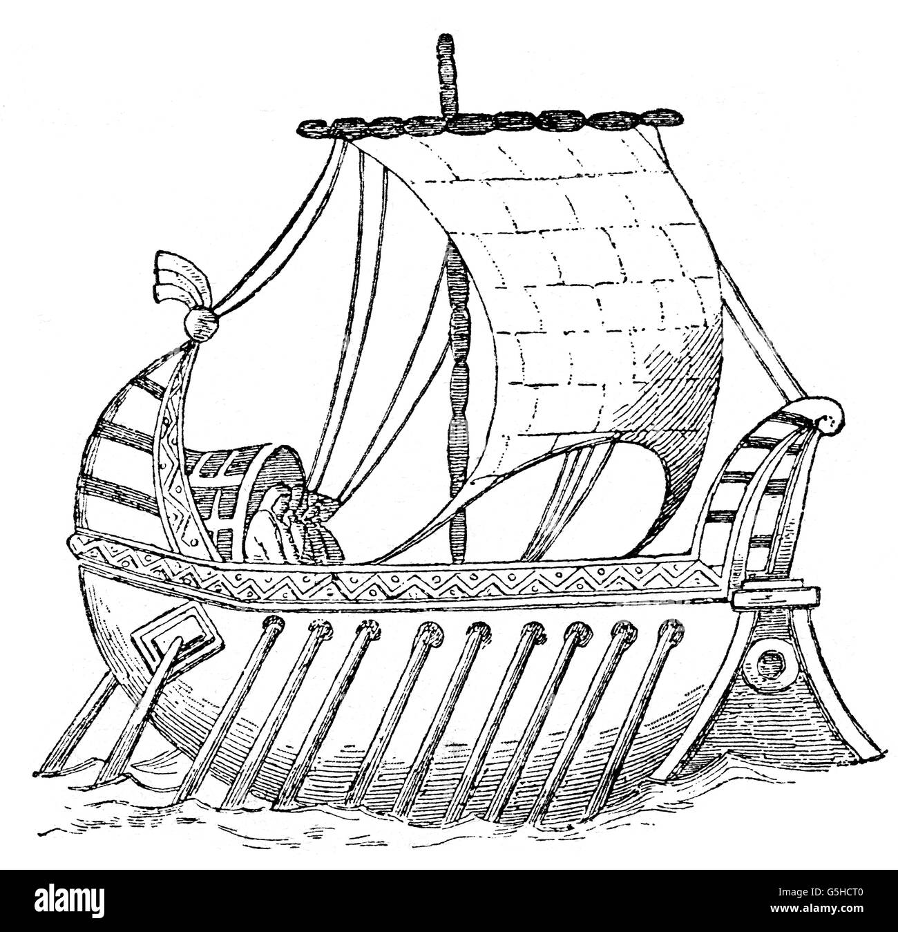 transport / transportation, navigation, galleys, galley, 9th century, wood engraving, 19th century, ancient world, - Stock Image