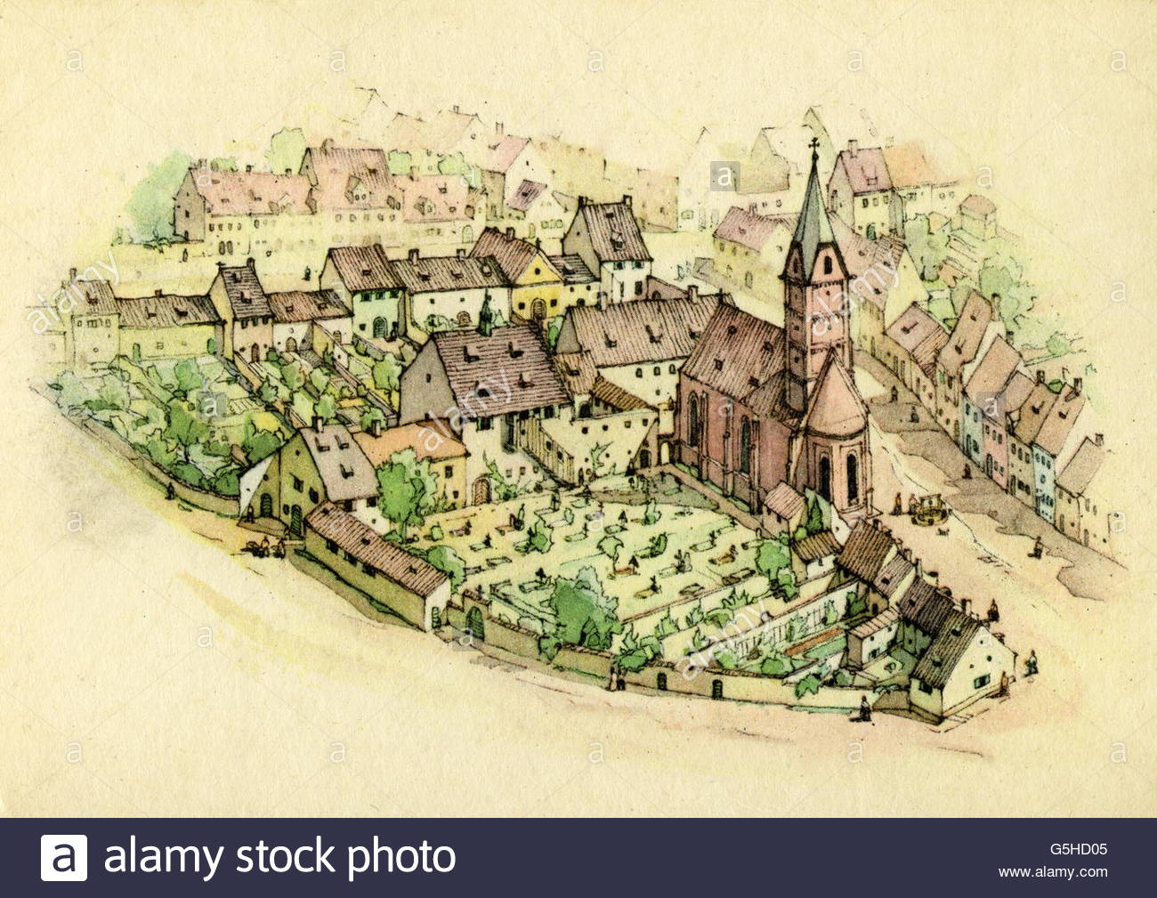 geography/travel, Germany, Munich, churches, All Saints Church, fore court, after miniature by Jakob Sandtner, 1570, - Stock Image