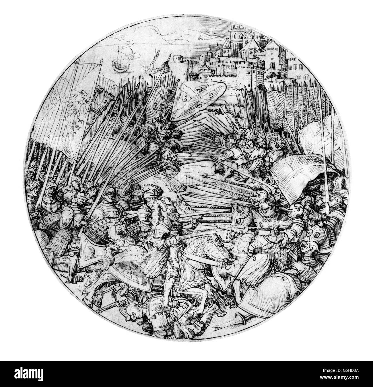 military, knights, two armies, consisting of knights and landsknechts, attacking each other, in the background a - Stock Image