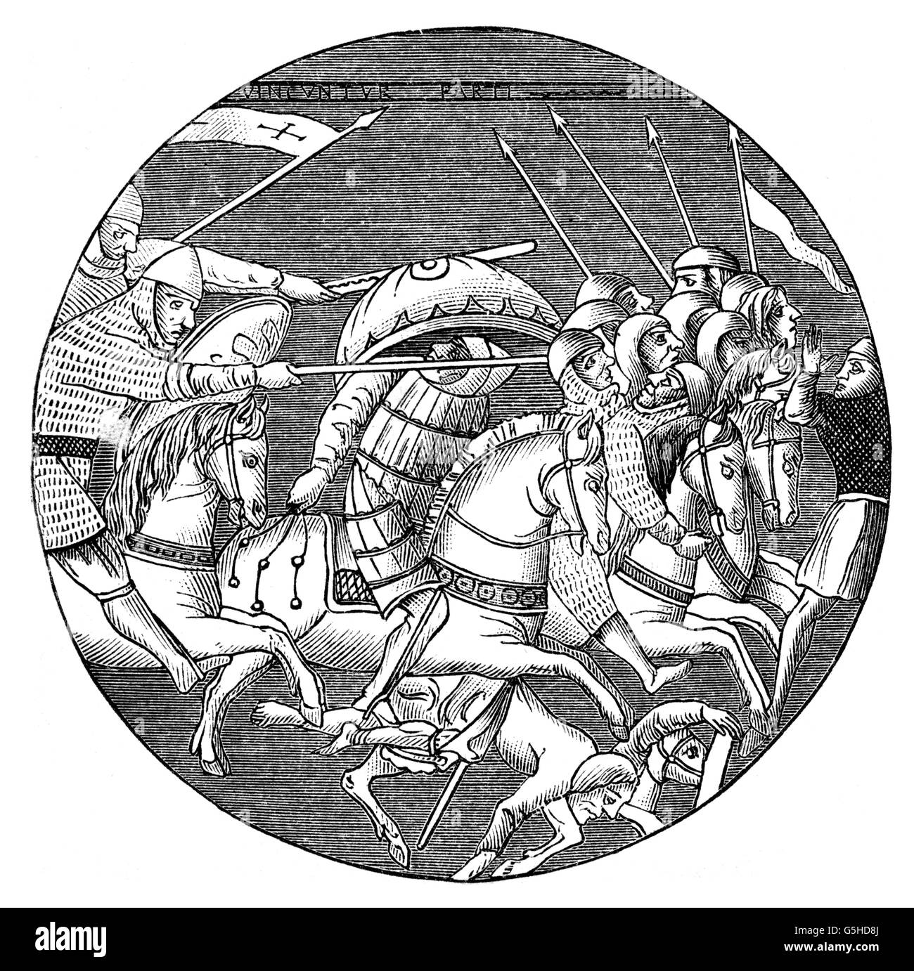 Middle Ages, crusades, battle between crusaders and Muslim cavalry, wood engraving, 19th century, after a glass - Stock Image
