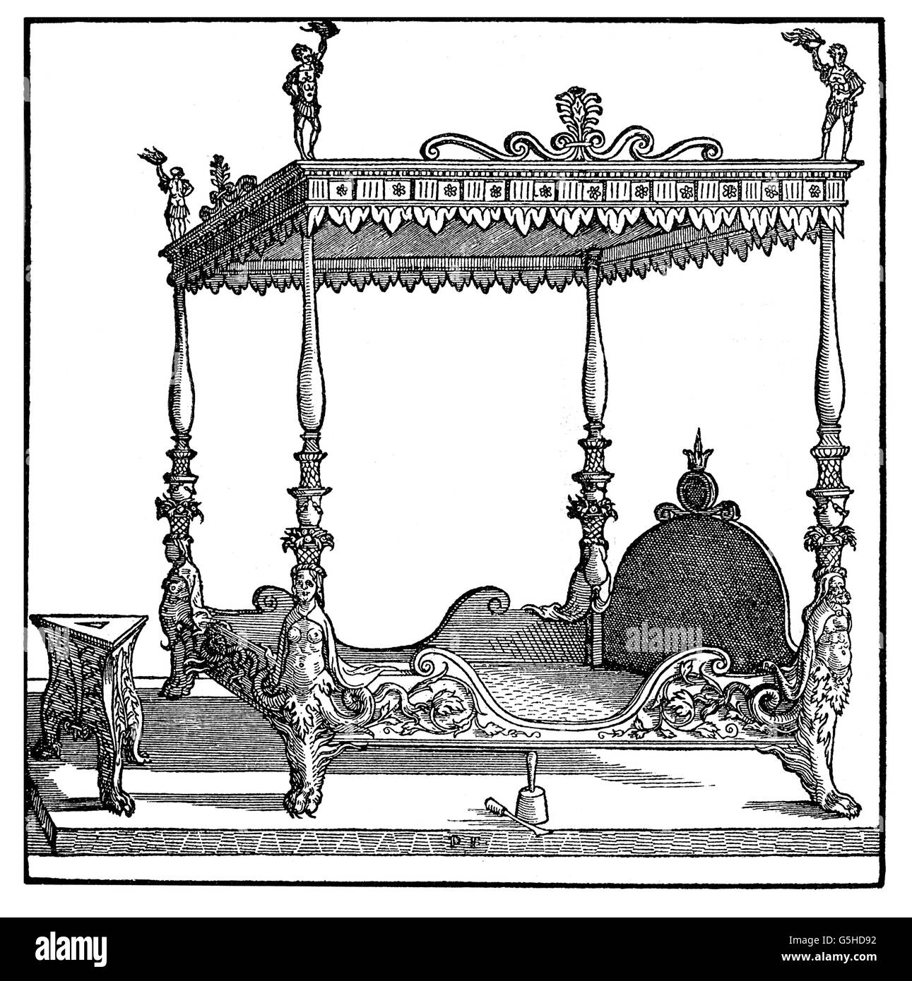 furnishings, furniture, canopy bed, woodcut by Peter Flötner, 1st half of the 16th century, bed, beds, piece - Stock Image