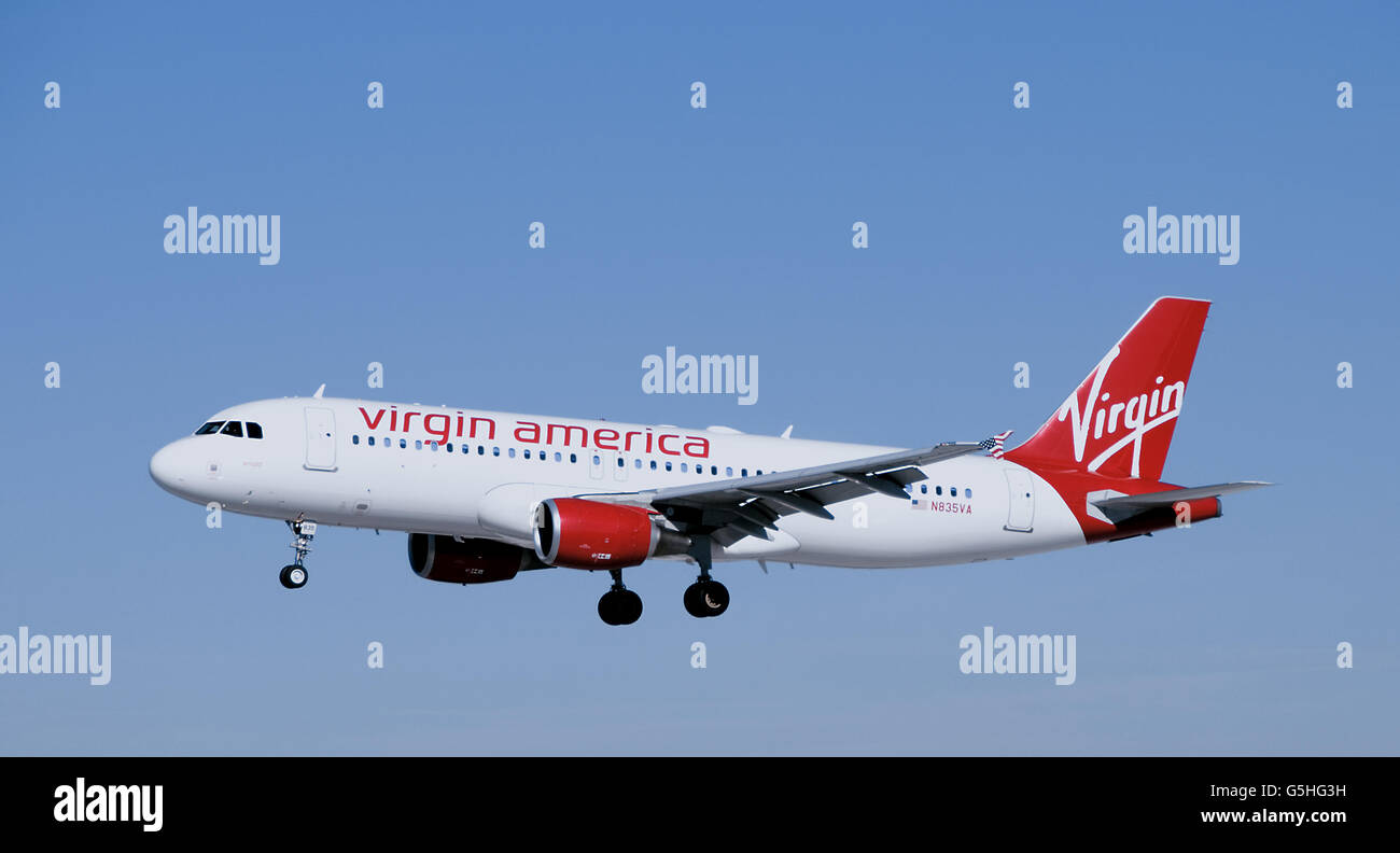 Virgin America Airbus A320 jet airplane landing - Stock Image