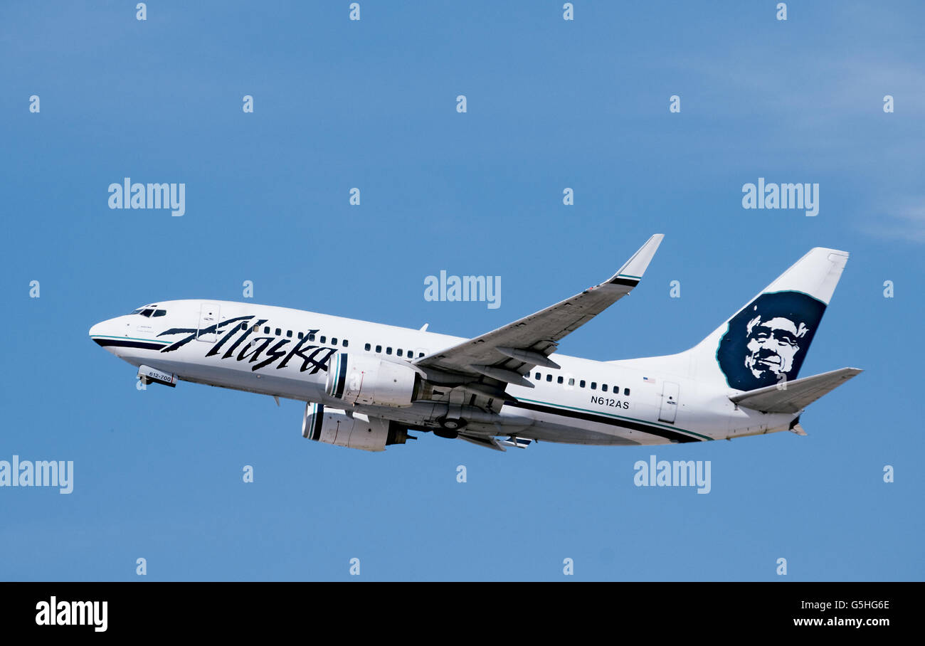 Alaska Airlines Boeing 737 jet airplane - Stock Image