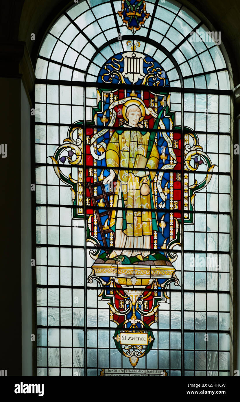 St Lawrence Jewry, church in the City of London. 1950s window of St Lawrence by Christopher Webb - Stock Image