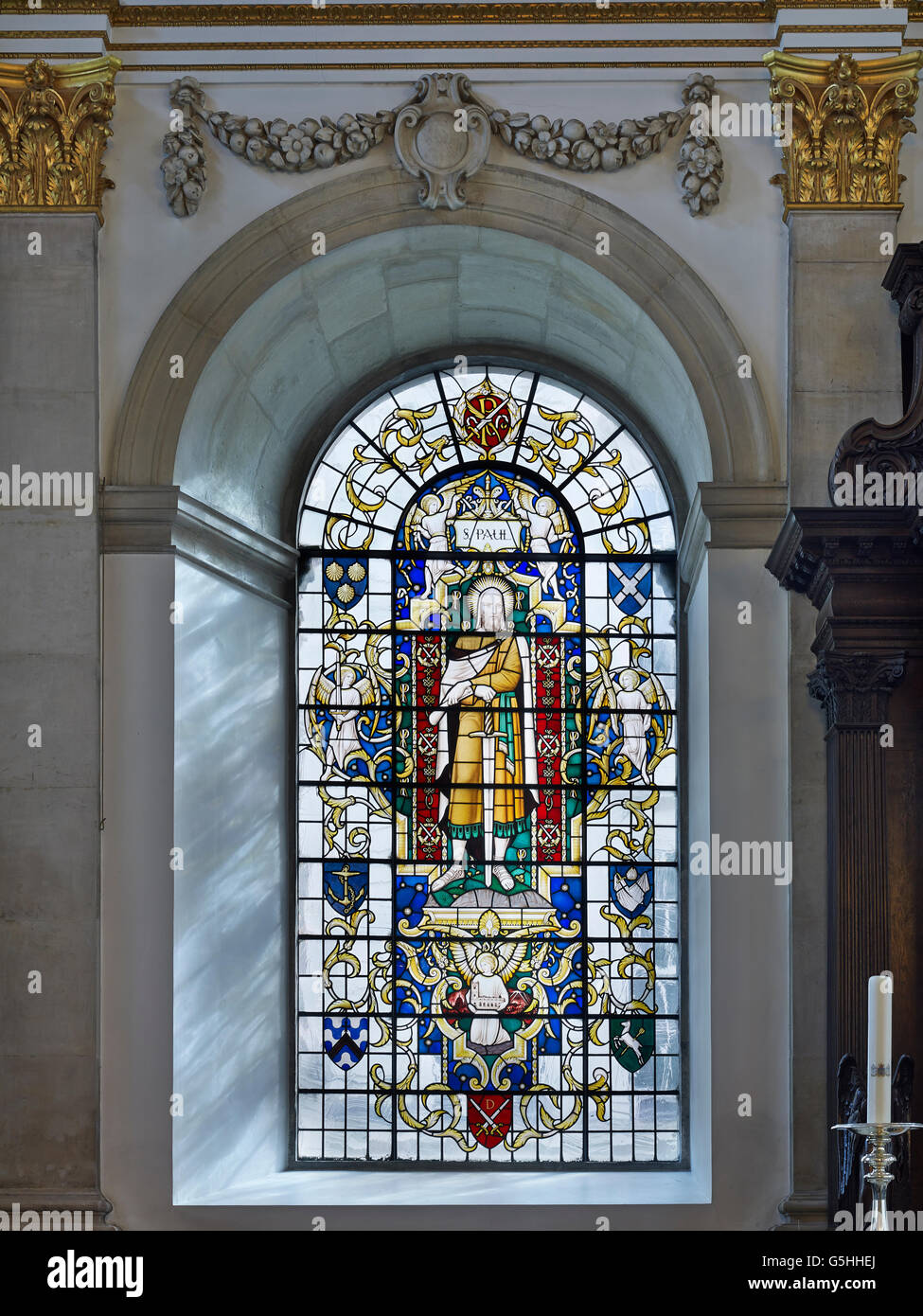 St Lawrence Jewry, church in the City of London. 1950s window of St Paul by Christopher Webb - Stock Image