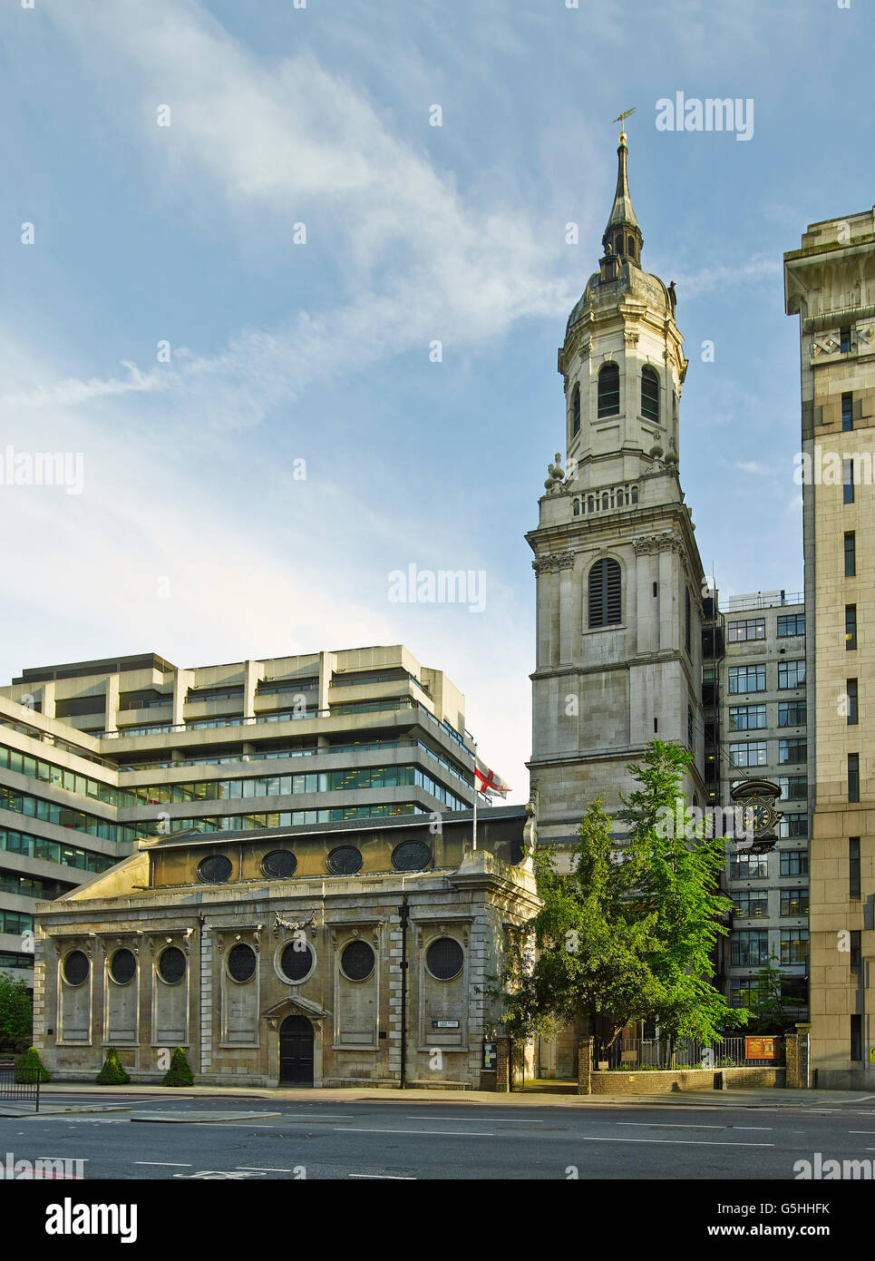 St Magnus the Martyr church in the City of London, north front, by Chrisopher Wren - Stock Image