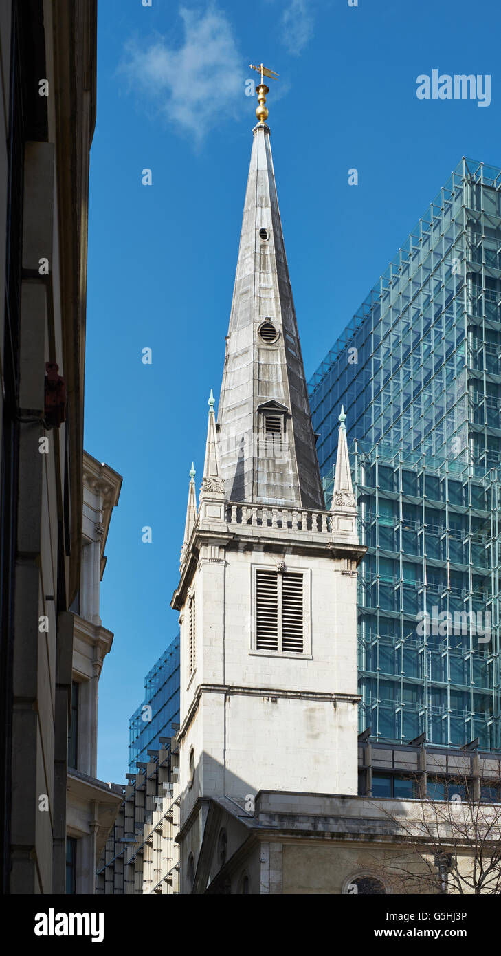 St Margaret Pattens, church in the City of London. Tower and spire - Stock Image
