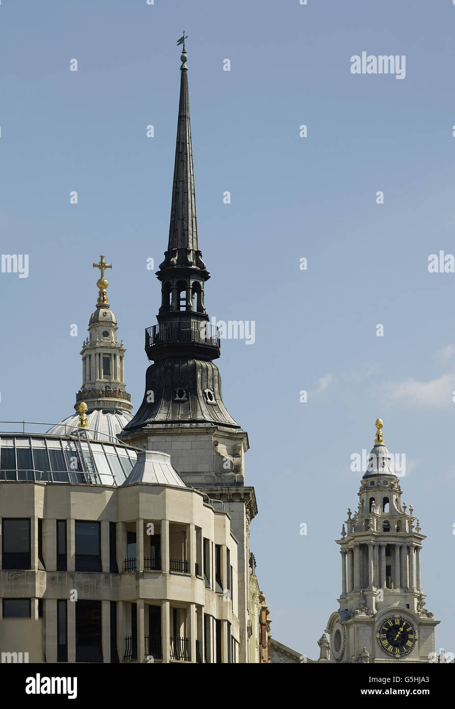 St Martin within Ludgate, church in the City of London, spire with St Paul's - Stock Image