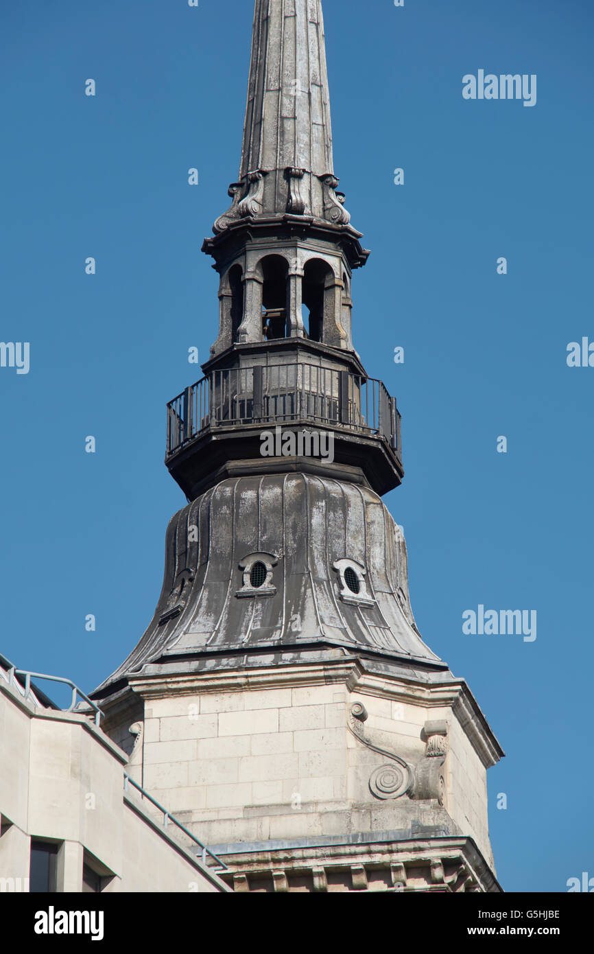 St Martin within Ludgate, church in the City of London, spire detail - Stock Image
