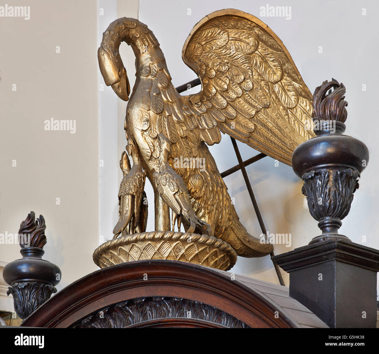 St Martin within Ludgate, church in the City of London, Pelican weathervane Stock Photo