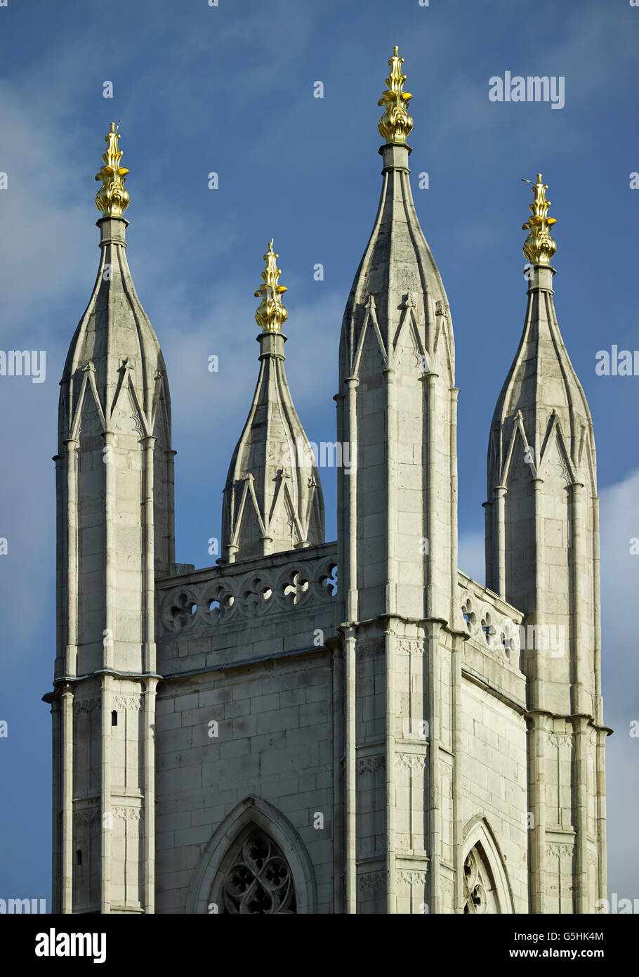 St Mary Aldermary, church in the City of London, Gothic tower and pinnacles - Stock Image